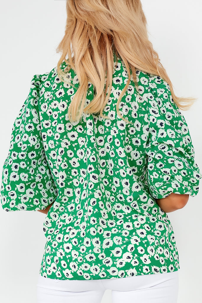 Joanne Green Floral Balloon Sleeve Top