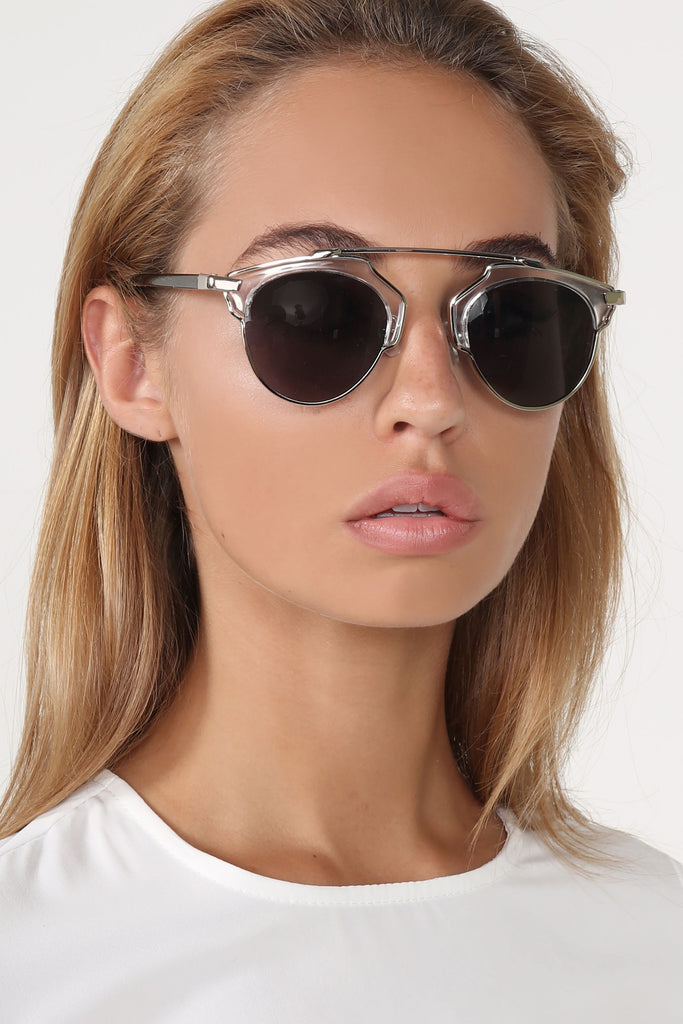 Jolie Chrome And Black Retro Sunglasses