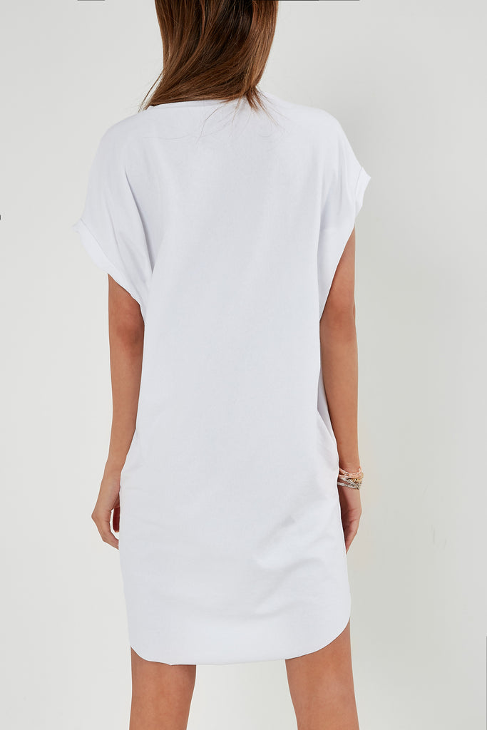 Jolie White 'Saint Love' Slogan T-Shirt Dress
