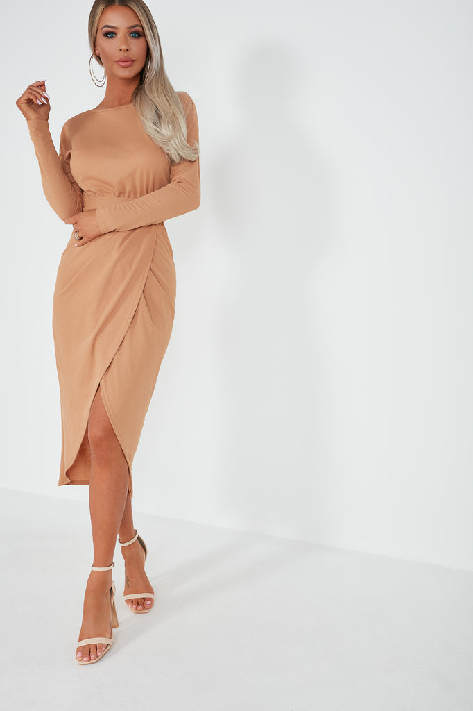 Jordanie Camel Long Sleeve Wrap Midi