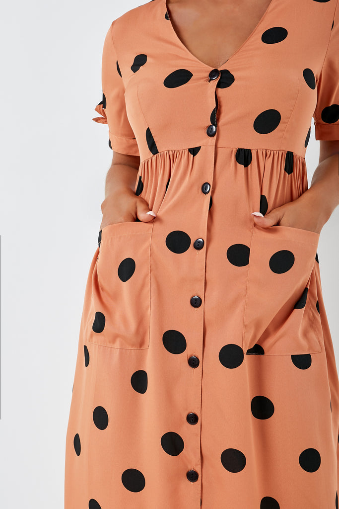 Jorgie Terracotta Spotted Midi Dress (1953115504706)