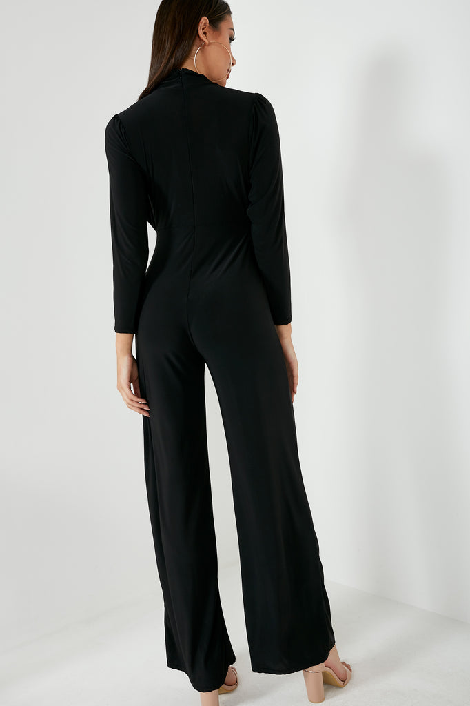 Josephine Black Slinky High Neck Jumpsuit