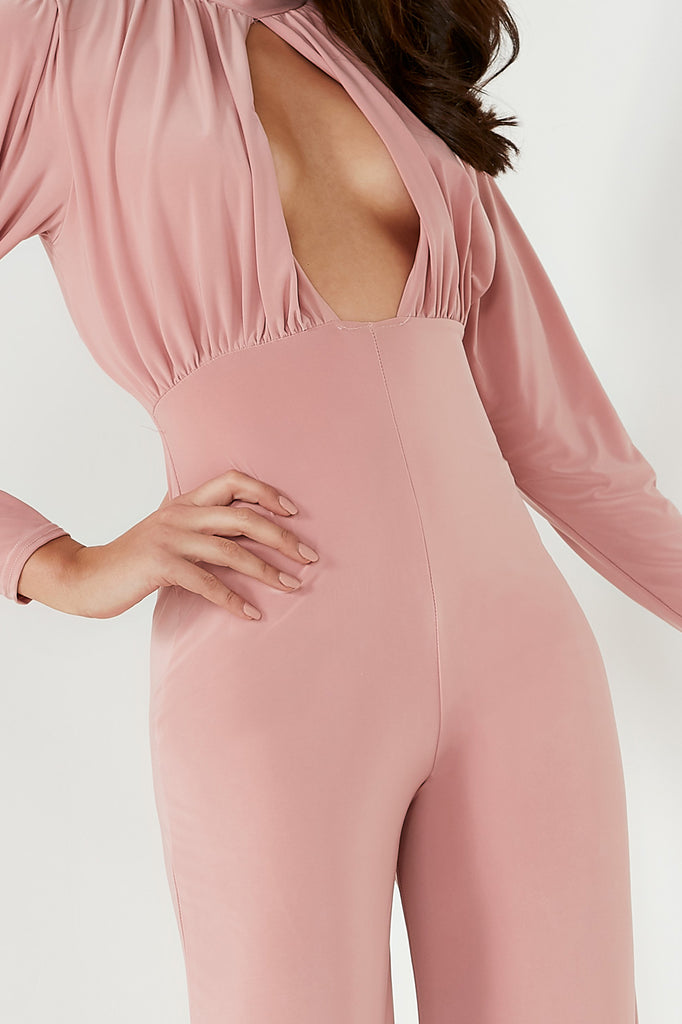 Josephine Pink Slinky High Neck Jumpsuit