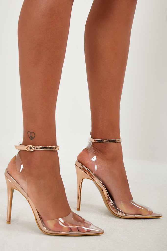 Jules Rose Gold Clear Perspex Court Shoes