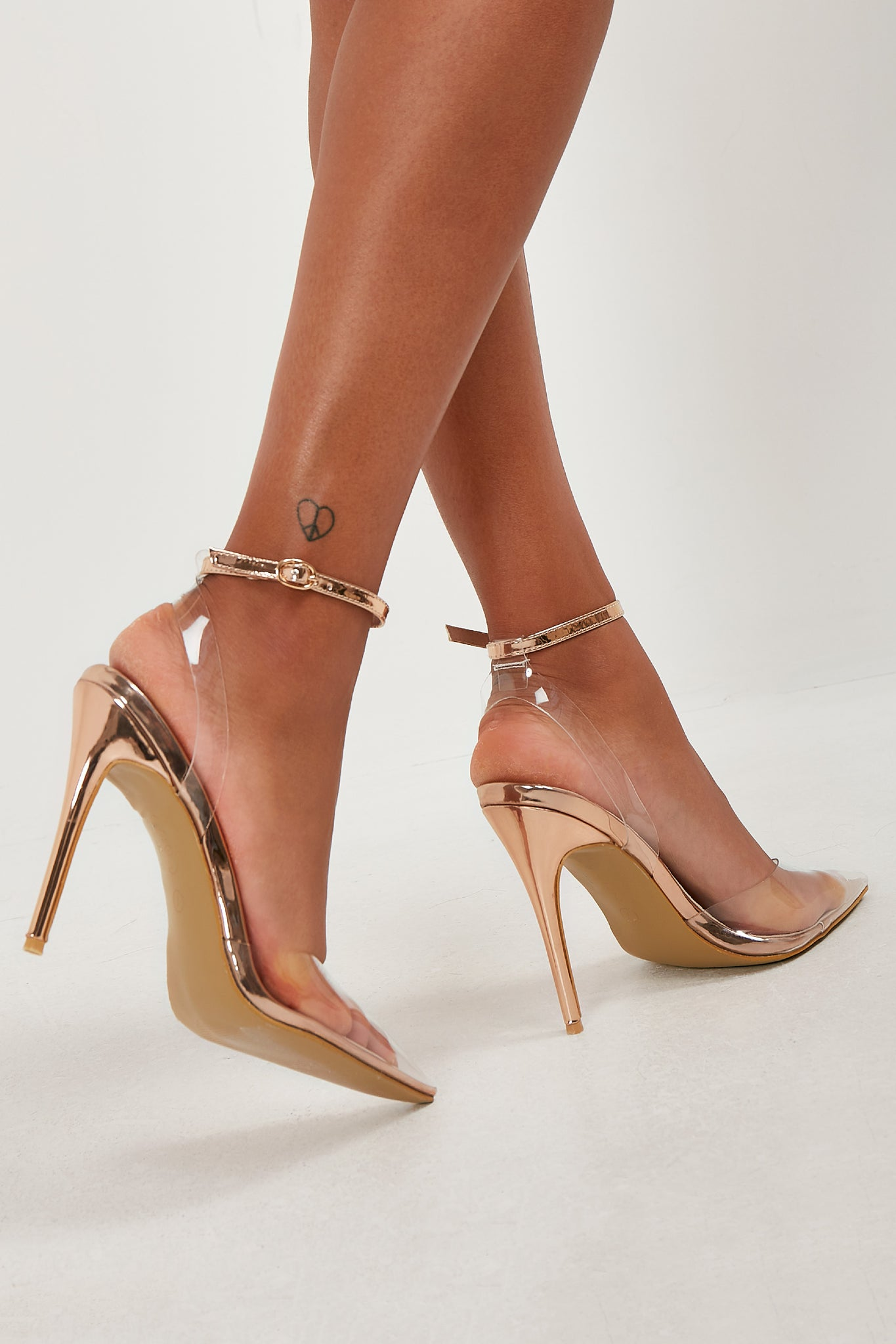 38cdaeab976 Jules Rose Gold Clear Perspex Court Shoes