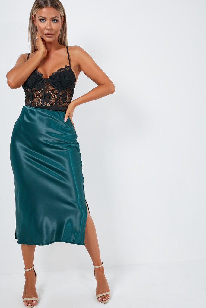 Julie-Anne Green Satin Midi Skirt (1948668985410)
