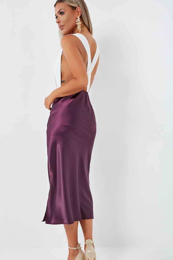 Julie-Anne Plum Satin Midi Skirt