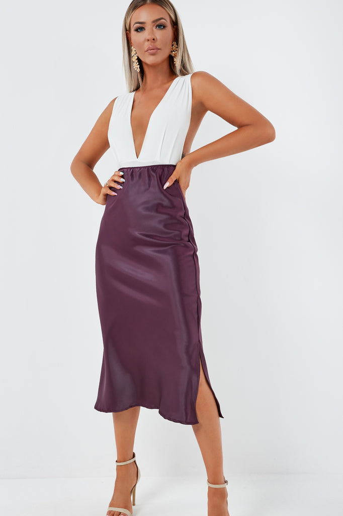 Julie-Anne Plum Satin Midi Skirt (1948671475778)