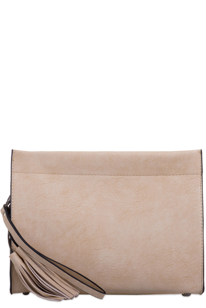 Julie Beige Tassel Envelope Clutch Bag
