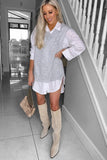 Casey Grey Oversized Shirt and Knit Top
