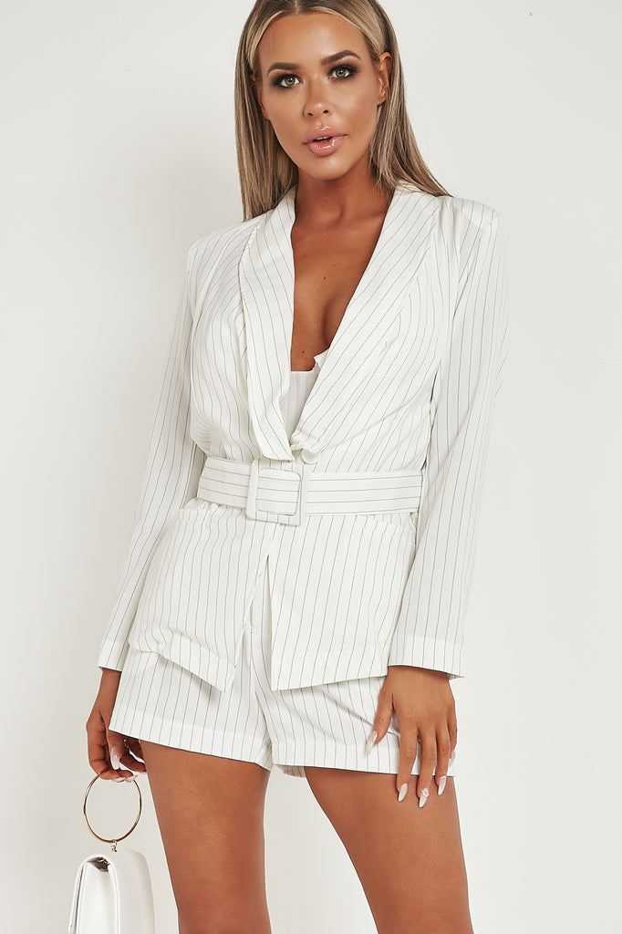Kaci White Pinstripe Belted Blazer Dress