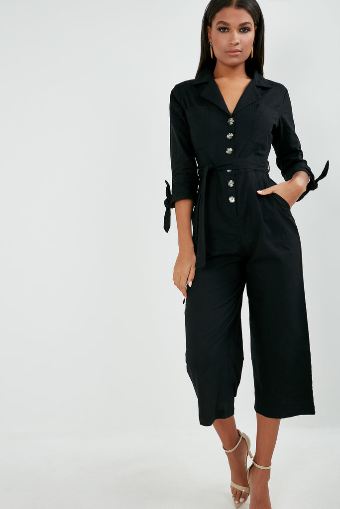 Kadia Black Tie Waist Boilersuit