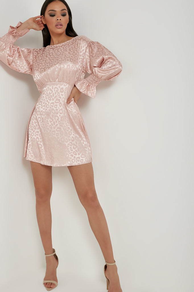 Kadie Pink Shimmery Animal Print Dress