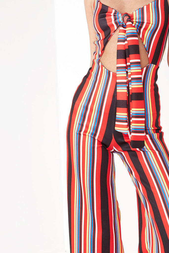 Kala Red Striped Tie Front Jumpsuit