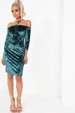 Kalee Green Velvet Bardot Dress