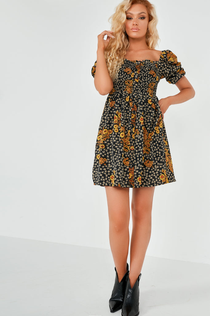 Kali Yellow Floral Shirred Front Dress