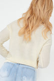 Kansas Cream Knit V Neck Jumper