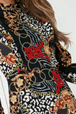 Karen Black Scarf Print High Neck Dress
