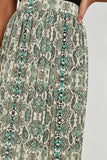 Karisa Green Snake Print Pleat Midi Skirt