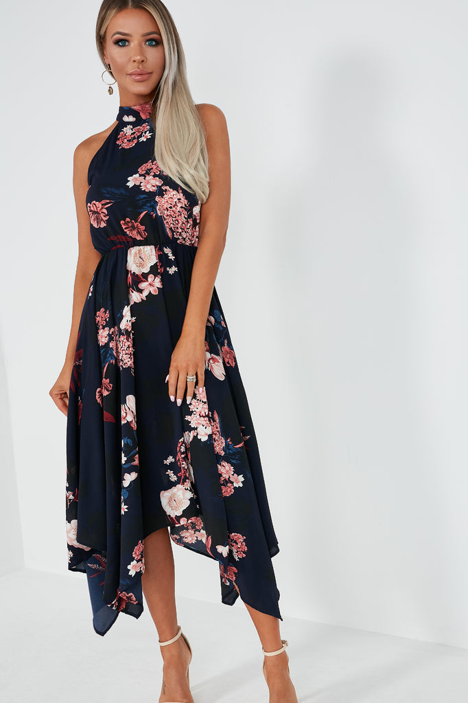 Kat Navy Floral Racer Midi Dress