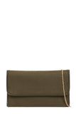 Kate Olive Suedette Clutch Bag