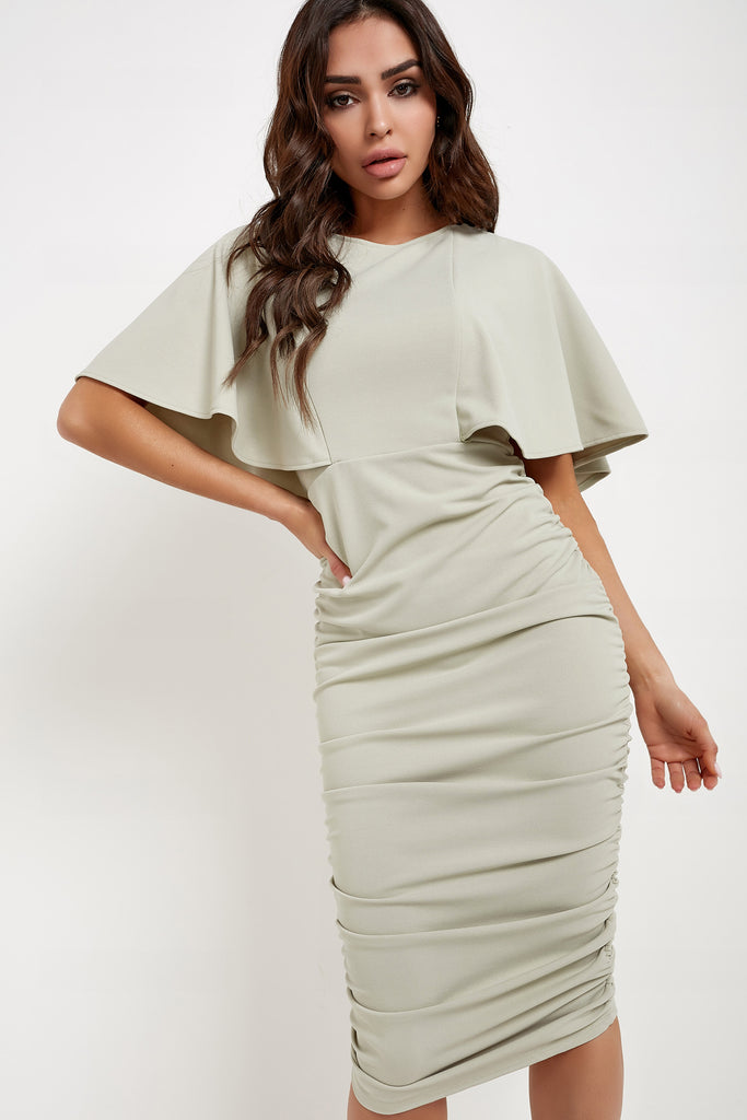Kate Sage Flared Sleeve Ruched Midi Dress