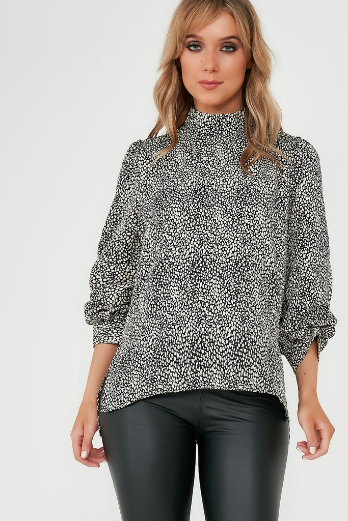 Kathia Black & Stone Printed High Neck Cuff Top