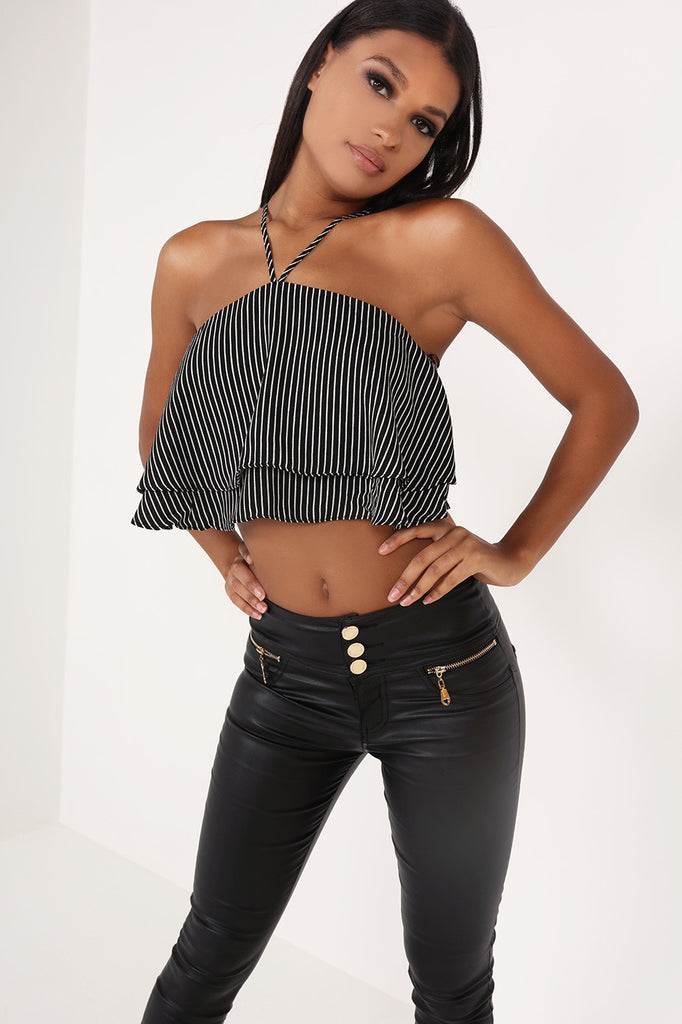 Kathy Monochrome Frill Crop Top
