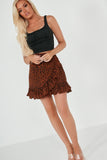 Katie Brown and Black Animal Print Ruffle Skirt