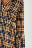 Katie Navy and Sand Check Shirt Dress