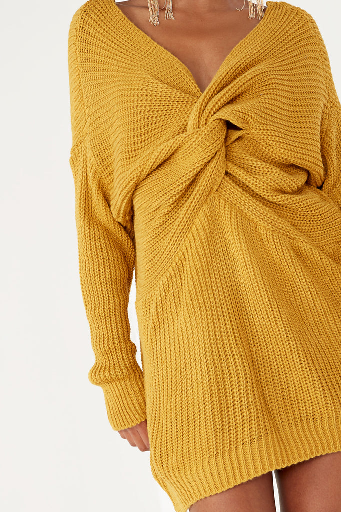 Kaula Mustard Knot Knit Jumper Dress