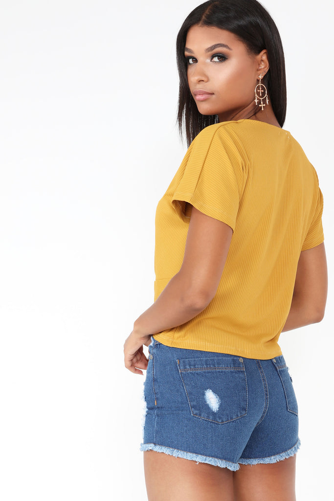 Kaz Mustard Ribbed Twist Top