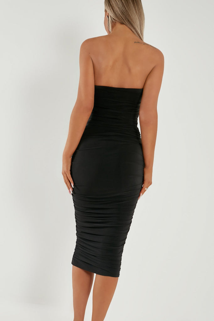 Kazz Black Ruched Bandeau Midi Dress