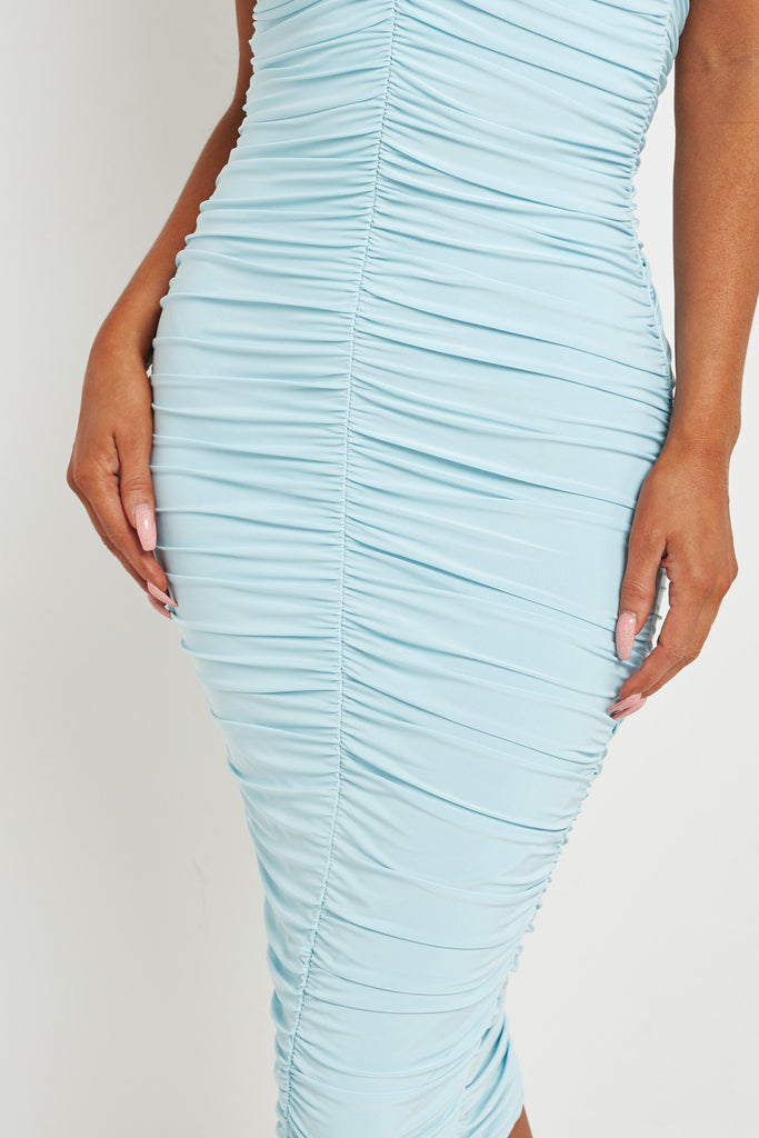 Kazz Powder Blue Ruched Bandeau Midi Dress
