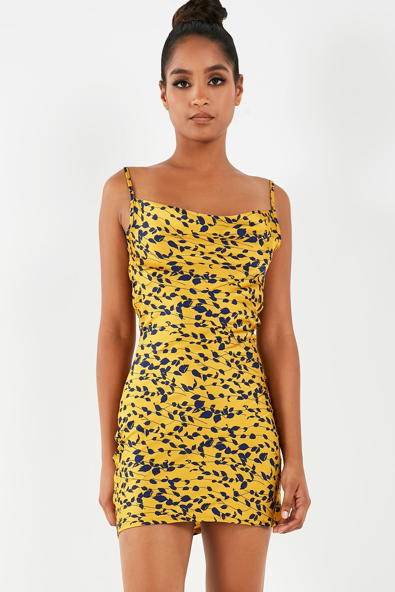 5f0e7ef761ce Keira Mustard Printed Cowl Neck Slip Dress. €24.99. Previous