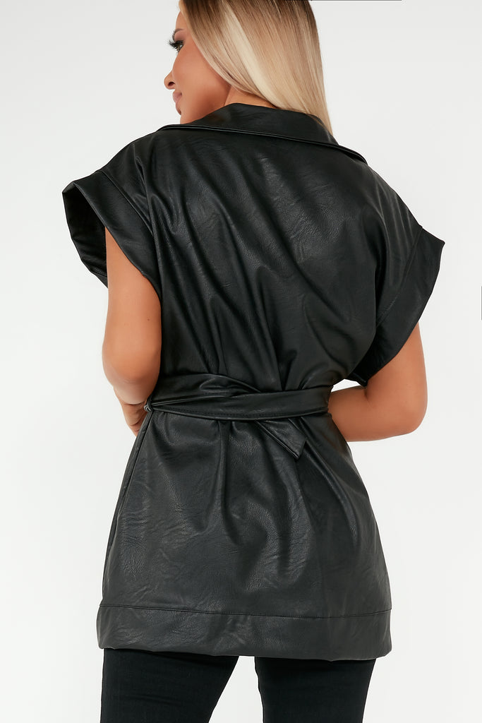 Kelly Black Faux Leather Belted Gilet