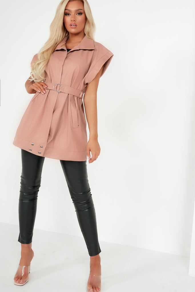 Kelly Pink Faux Leather Belted Gilet