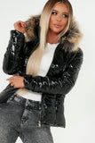 Kelsey Black Wet Look Fur Hooded Puffer Jacket
