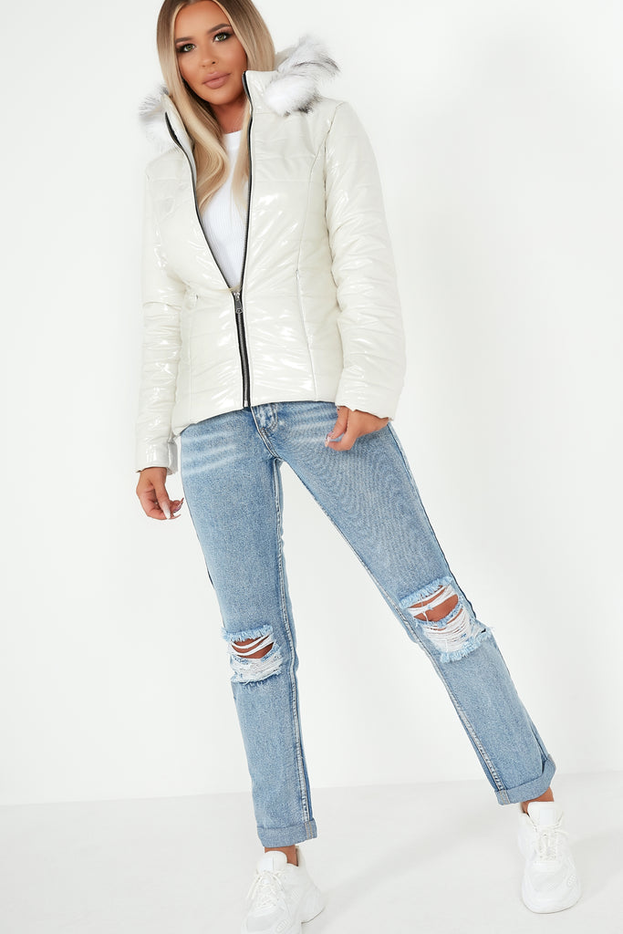 Kelsey White Wet Look Fur Hooded Puffer Jacket
