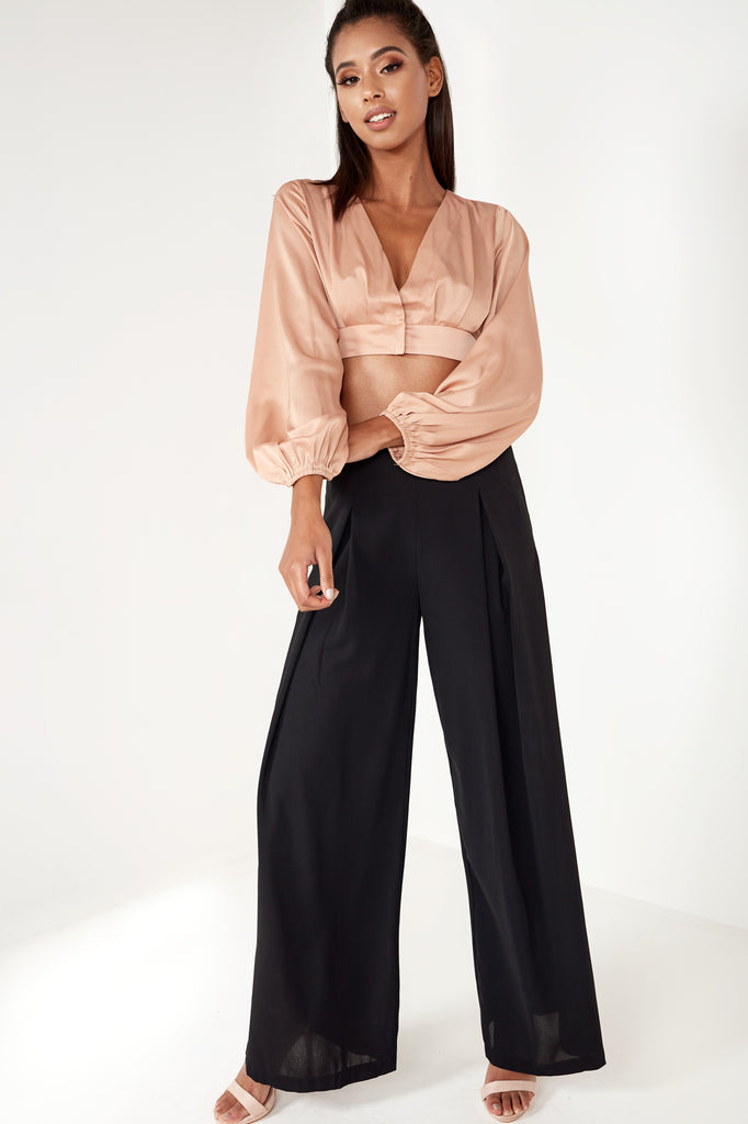 Kelsie Black Pleat Detail Wide Leg Trousers