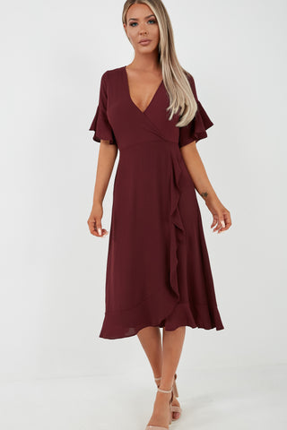 Wedding Guest Dresses With Sleeves.Kendal Plum Frill Midi Dress