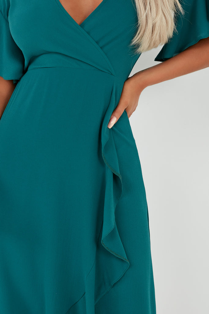 Kendal Teal Frill Midi Dress (2015151063106)