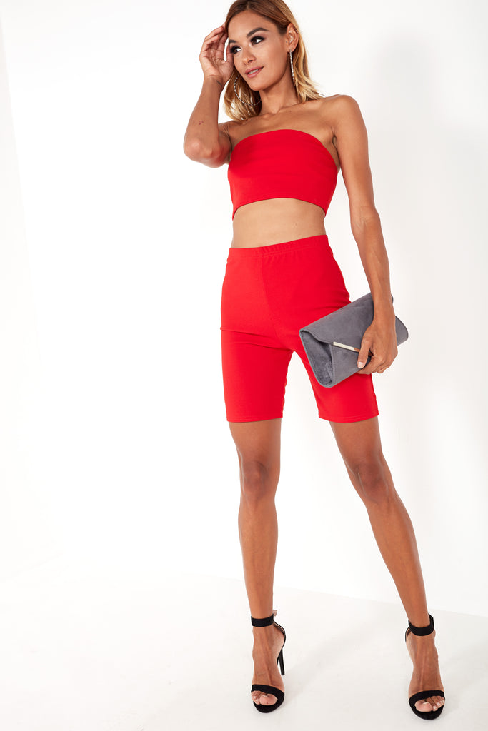Kerrie Red Cycling Shorts Co Ord