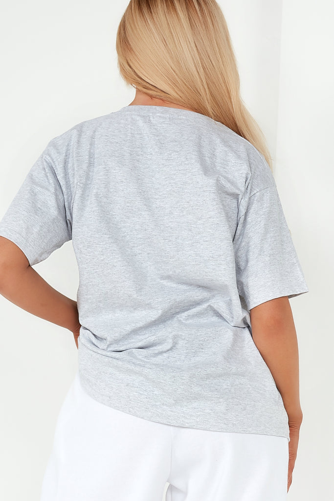 Khloe Grey Butterfly Oversized T Shirt
