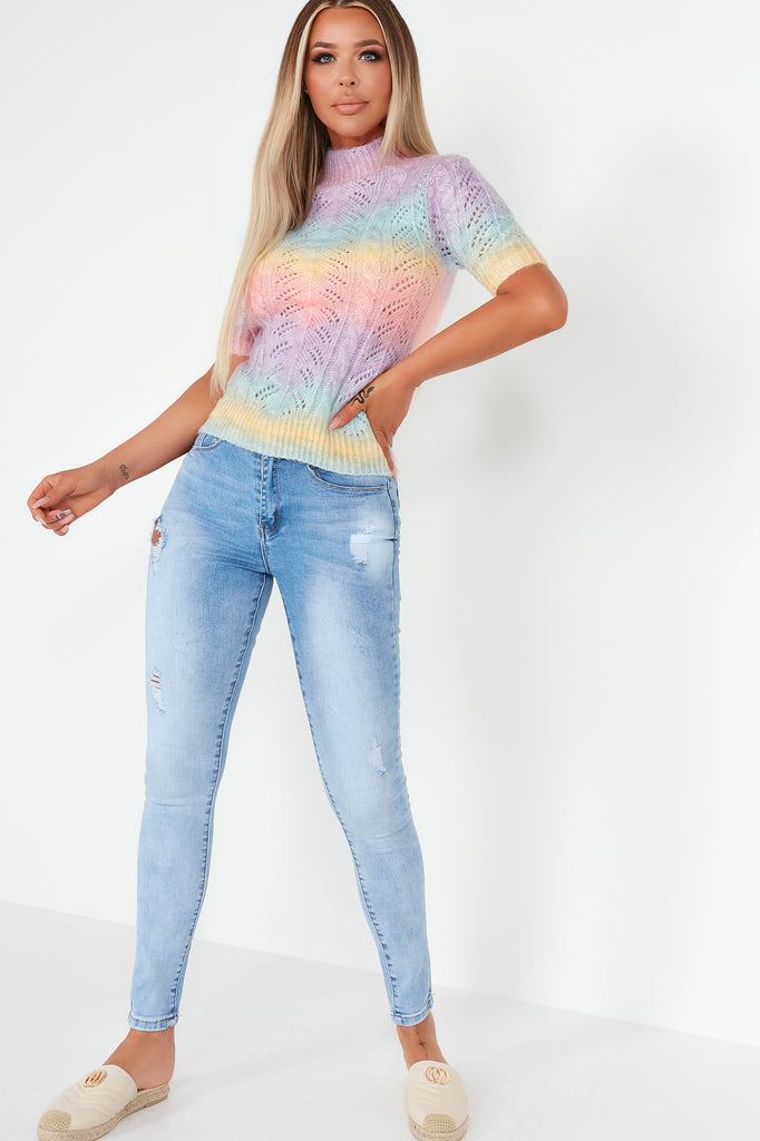 Kia Rainbow Dip Dye Open Cable Knit Top
