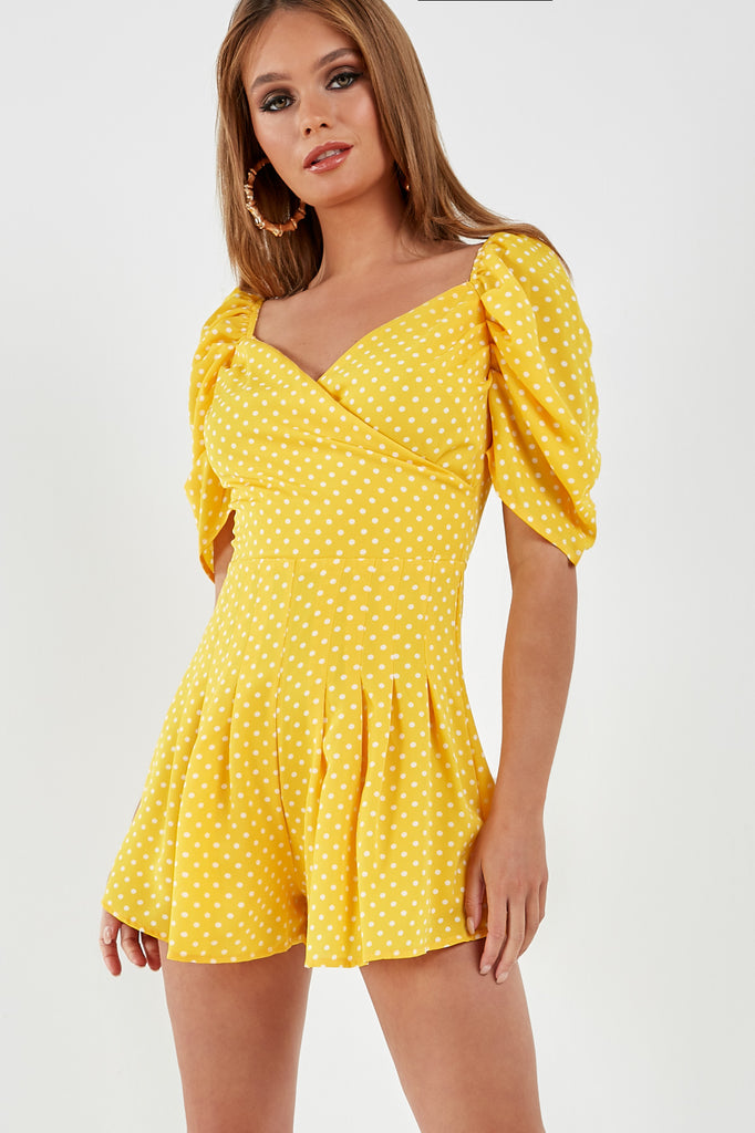 Kim Yellow Polka Dot Wrap Playsuit