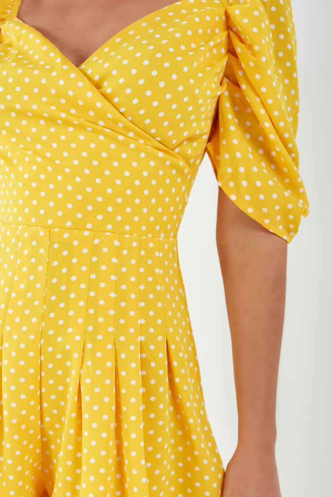 Kim Yellow Polka Dot Wrap Playsuit (1921309409346)
