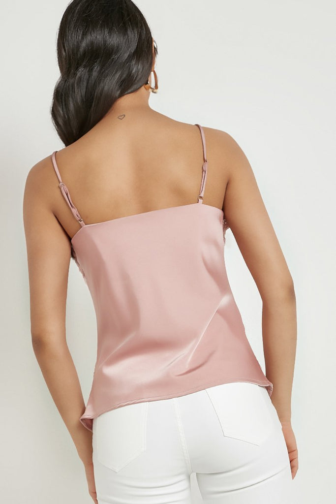 Kimberly Pink Satin Lace Camisole Top