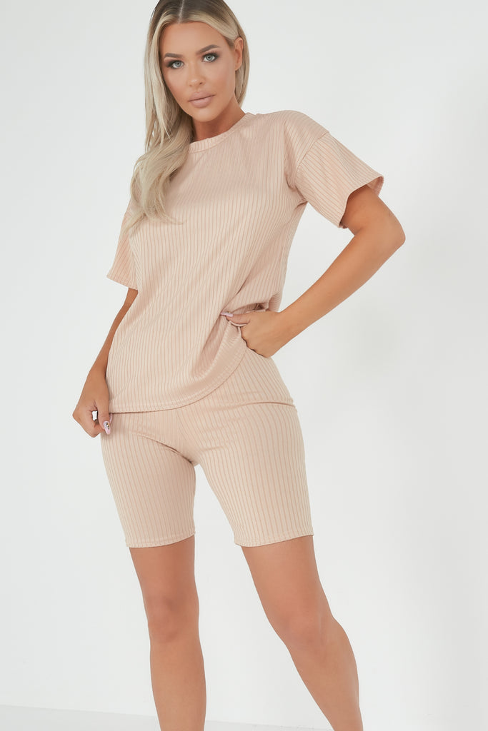 Kira Nude Ribbed Shorts Co Ord