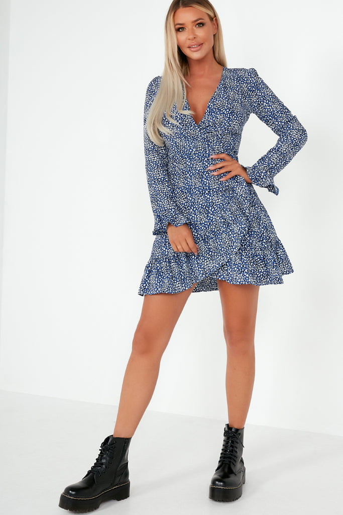 Kirsty Blue Animal Print Frill Wrap Dress